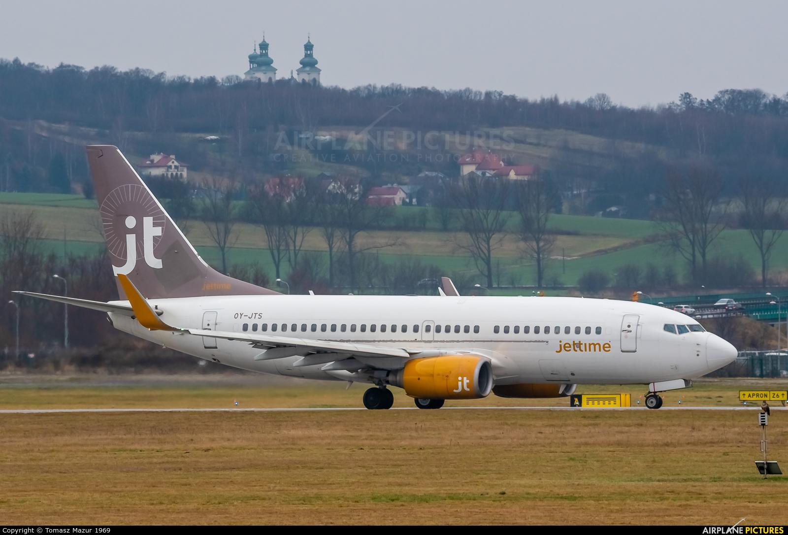 Jet Time OY-JTS aircraft at Kraków - John Paul II Intl