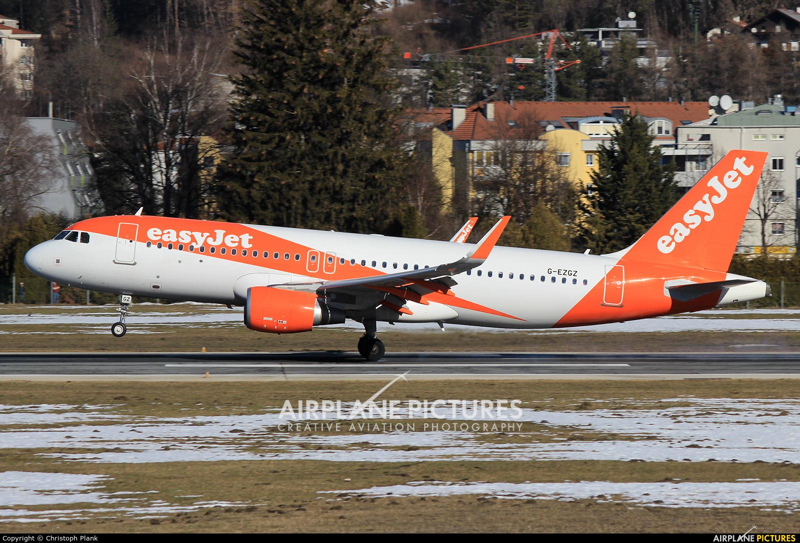 easyJet G-EZGZ aircraft at Innsbruck