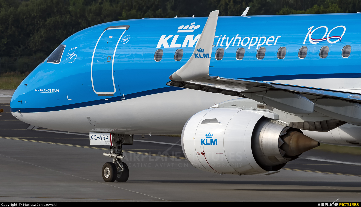 KLM Cityhopper PH-EXC aircraft at Kraków - John Paul II Intl