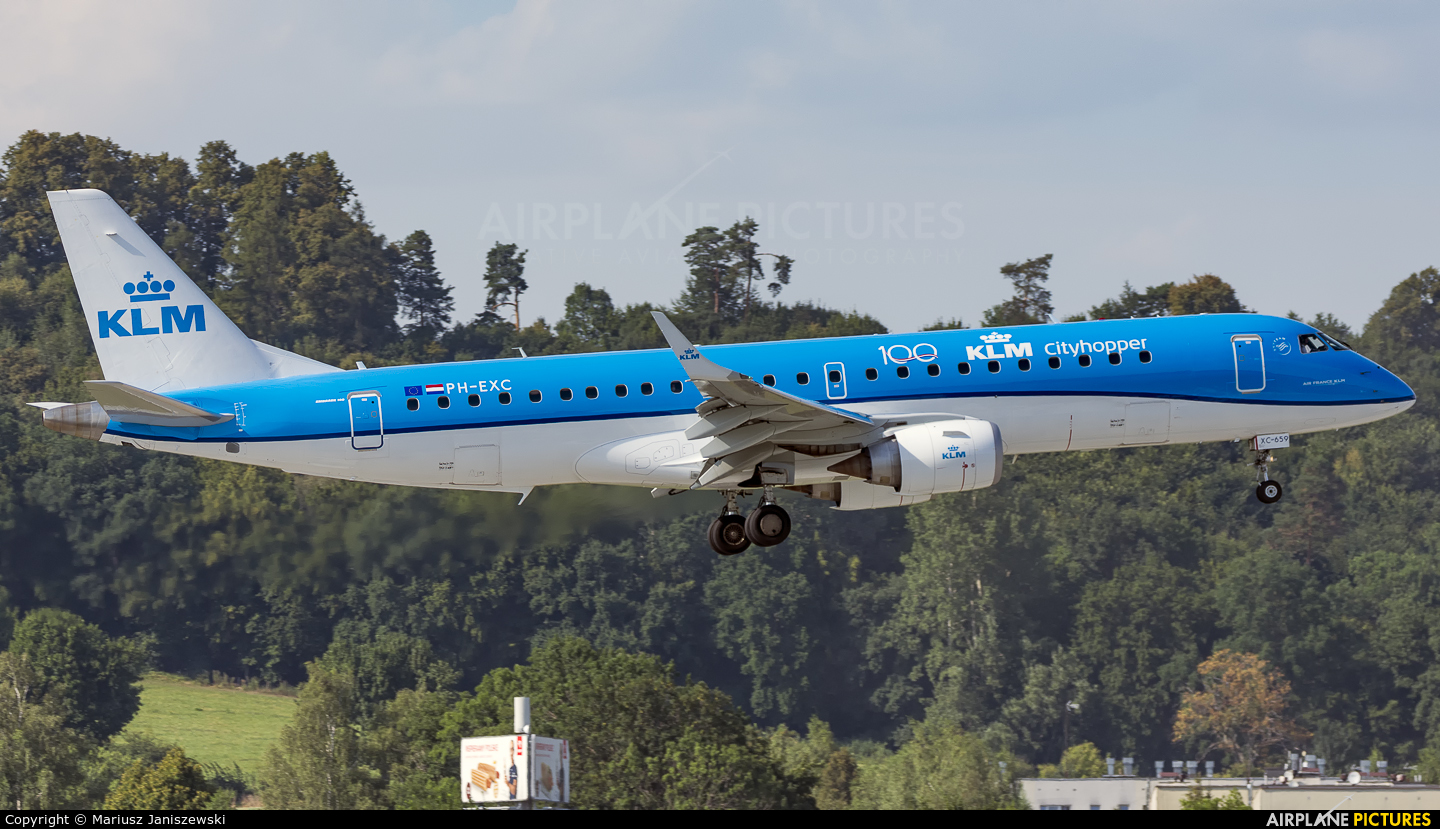 KLM Cityhopper PH-EXC aircraft at Kraków - John Paul II Intl