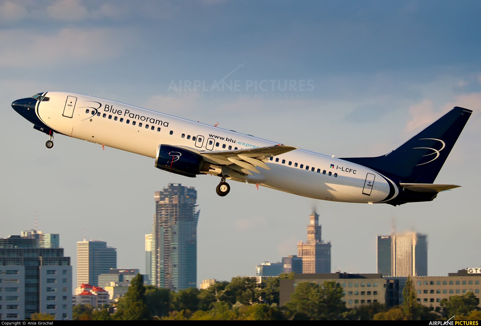 Blue Panorama Airlines I-LCFC aircraft at Warsaw - Frederic Chopin
