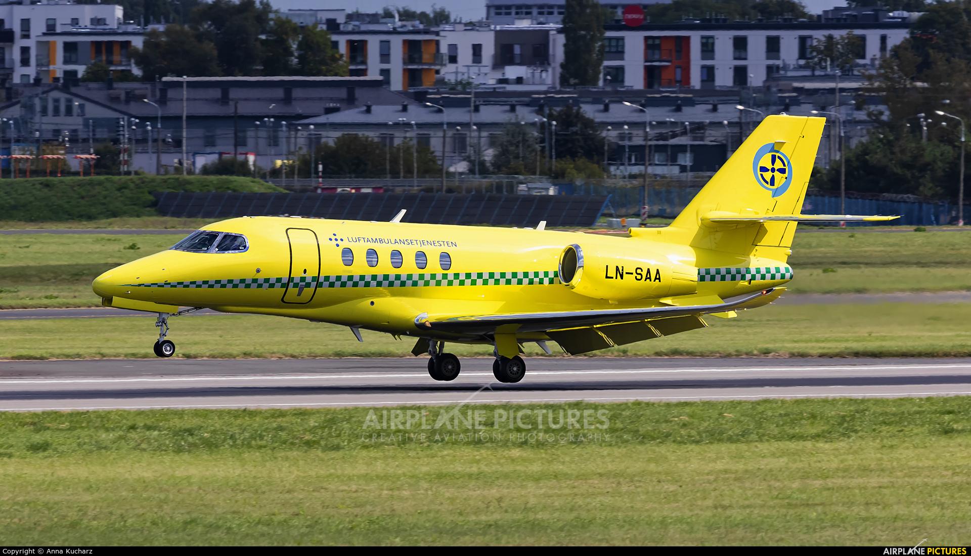 Babcock Scandinavian AirAmbulance LN-SAA aircraft at Warsaw - Frederic Chopin