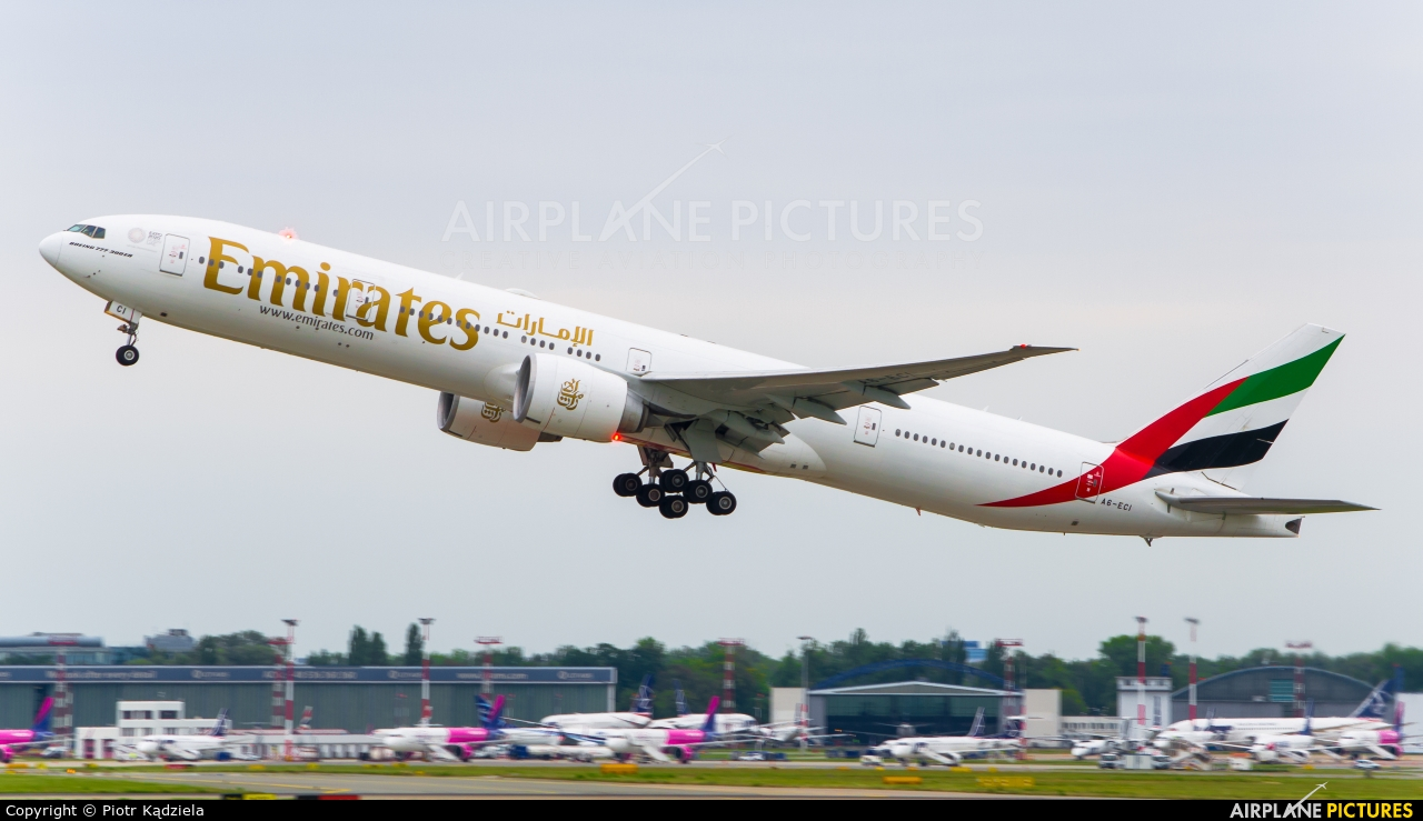 Emirates Airlines A6-ECI aircraft at Warsaw - Frederic Chopin