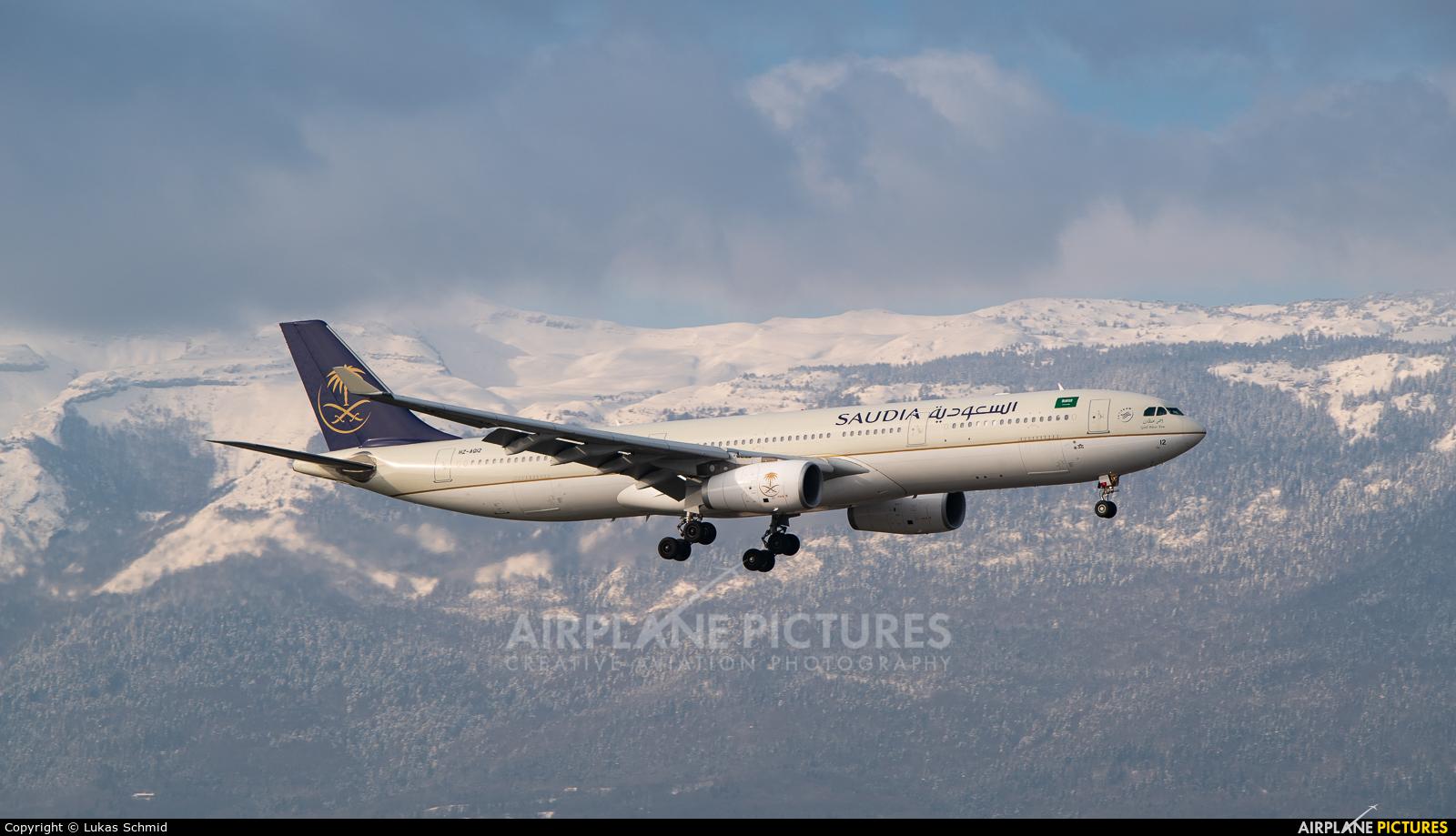 Saudi Arabian Airlines HZ-AQ12 aircraft at Geneva Intl