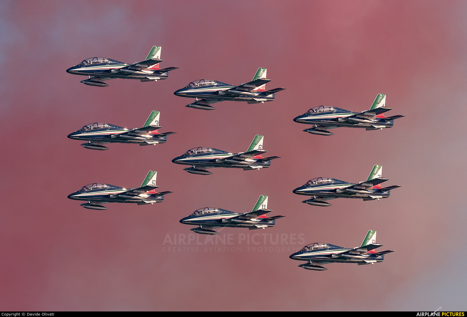 """Italy - Air Force """"Frecce Tricolori"""" - aircraft at Off Airport - Italy"""