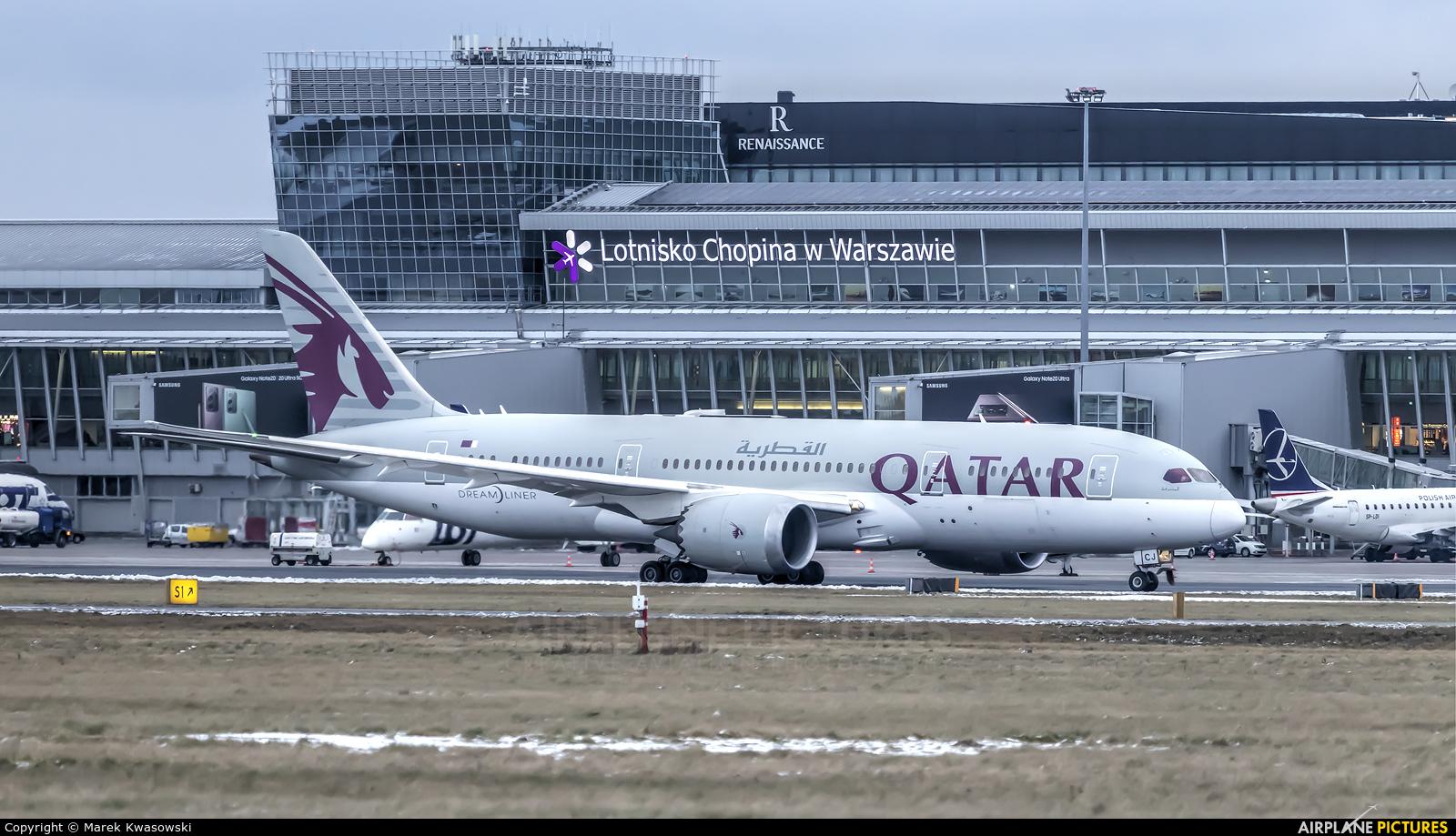 Qatar Airways A7-BCJ aircraft at Warsaw - Frederic Chopin