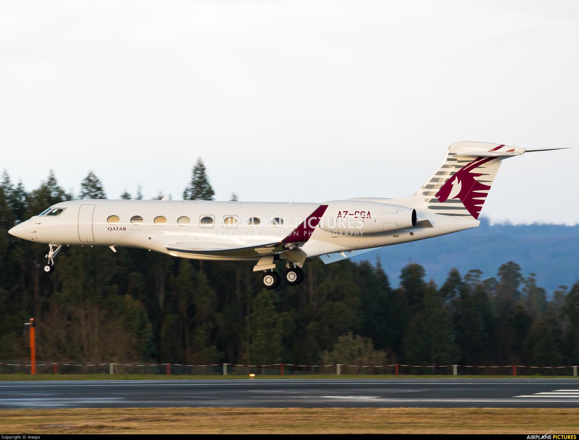 Qatar Executive A7-CGA aircraft at Santiago de Compostela