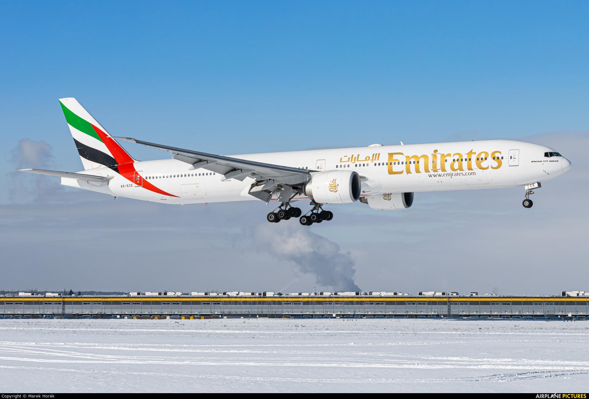 Emirates Airlines A6-ECE aircraft at Prague - Václav Havel