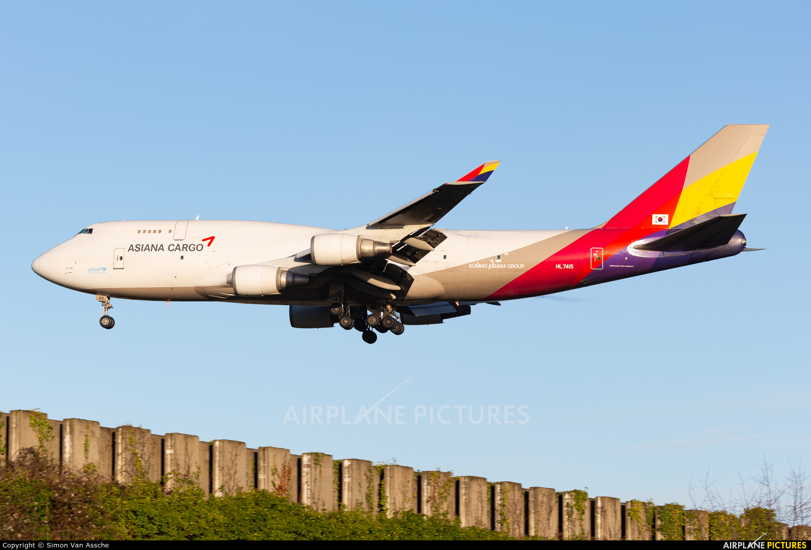 Asiana Cargo HL7415 aircraft at Brussels - Zaventem