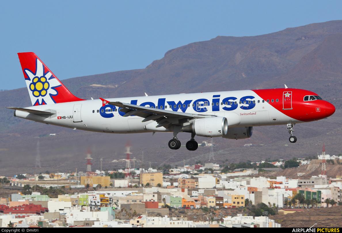 Edelweiss HB-IJU aircraft at Aeropuerto de Gran Canaria