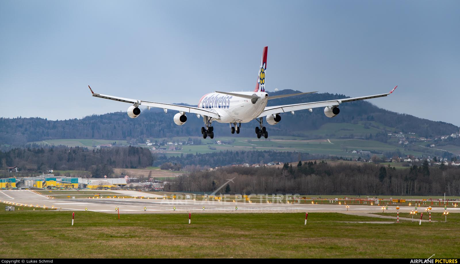 Edelweiss HB-JMG aircraft at Zurich