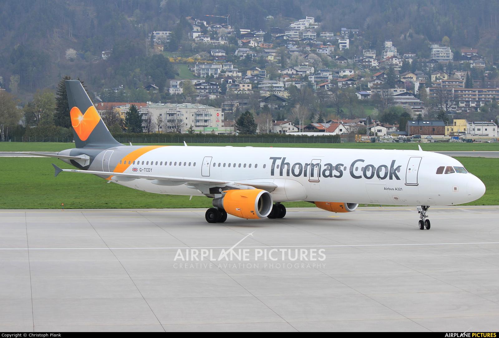 Thomas Cook G-TCDY aircraft at Innsbruck