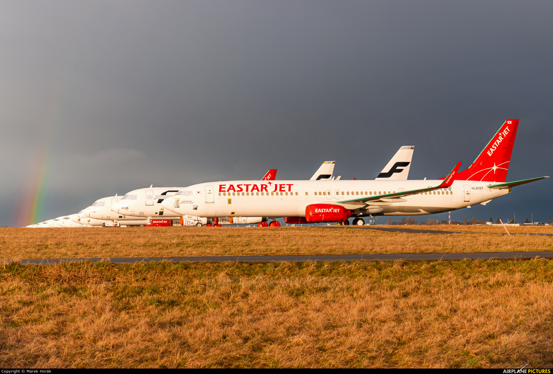 Eastar Jet HL8097 aircraft at Prague - Václav Havel