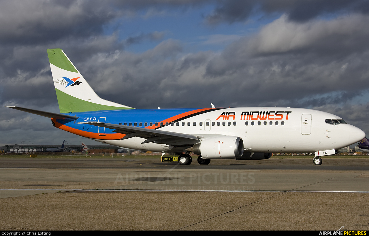 Air Midwest 5N-PVA aircraft at London - Heathrow