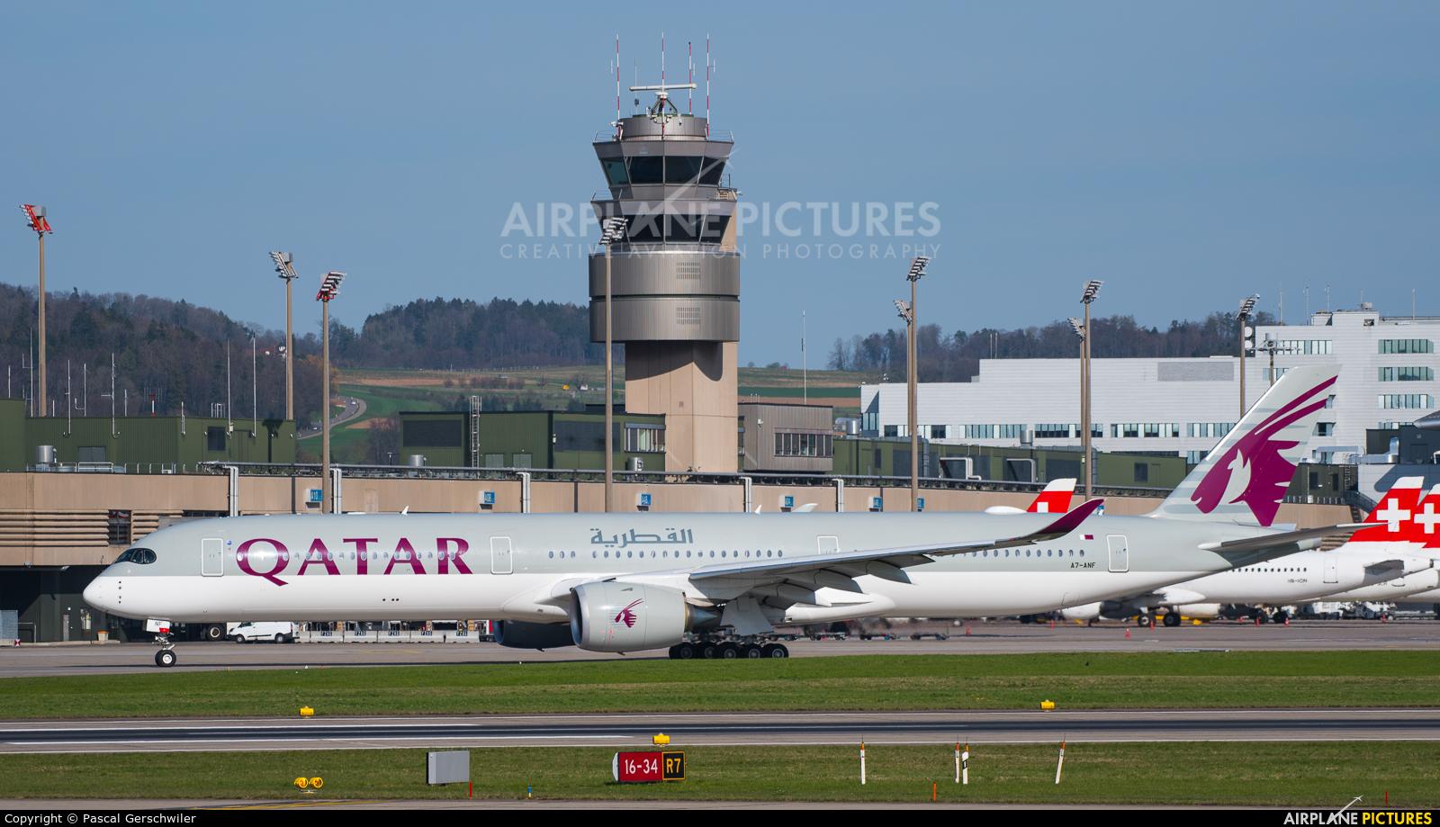 Qatar Airways A7-ANF aircraft at Zurich
