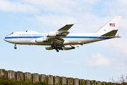 USAF Boeing E-4B with the US Secretary of Defense at Brussels title=