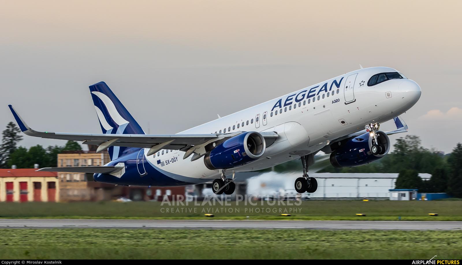 Aegean Airlines SX-DGY aircraft at Ostrava Mošnov