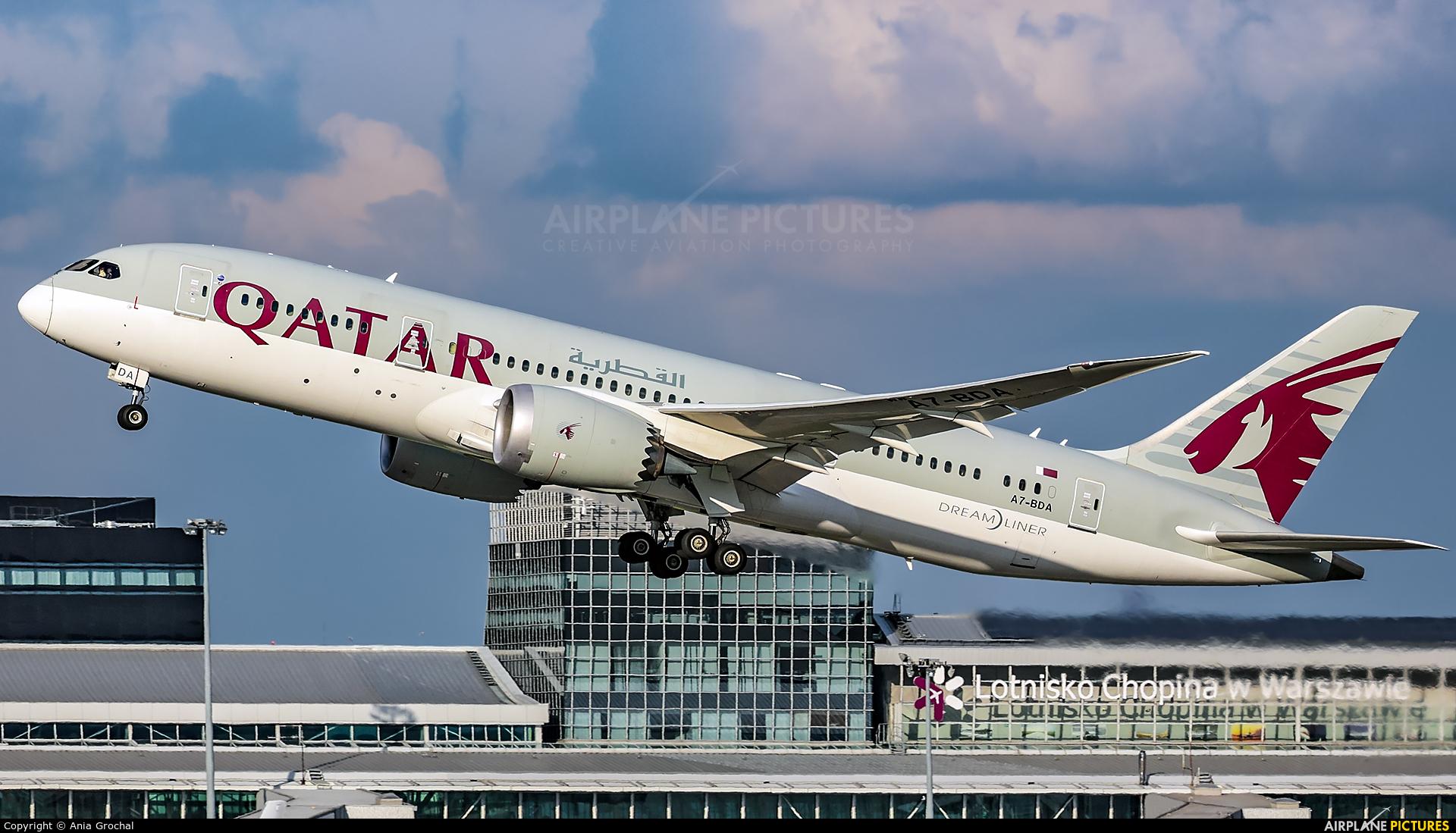 Qatar Airways A7-BDA aircraft at Warsaw - Frederic Chopin