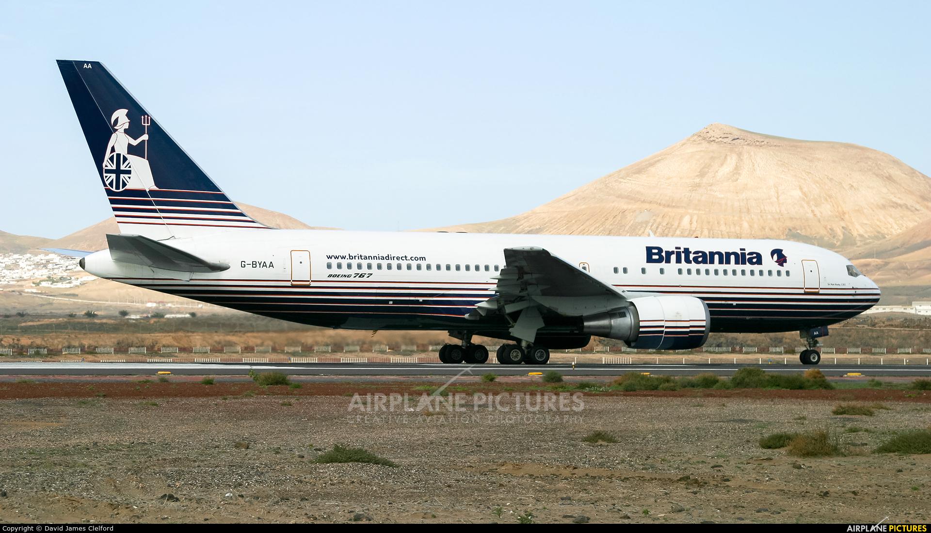 Britannia Airways G-BYAA aircraft at Lanzarote - Arrecife