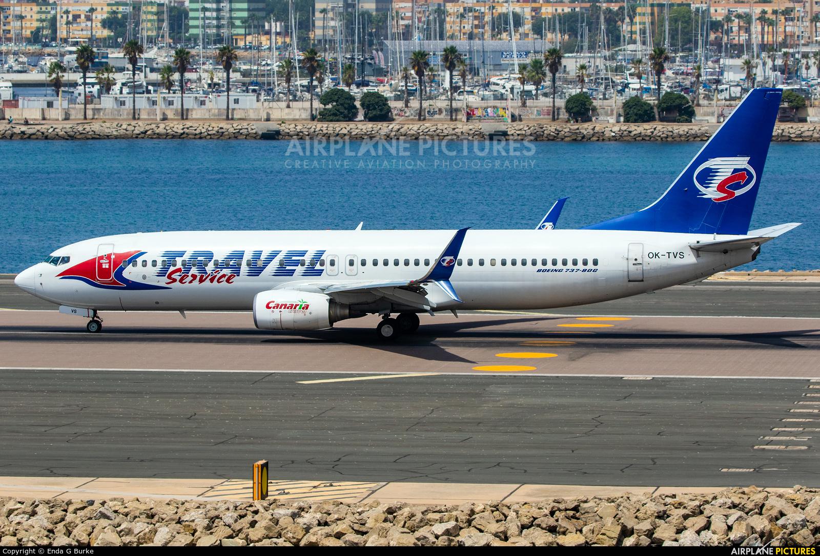 Travel Service OK-TVS aircraft at Gibraltar