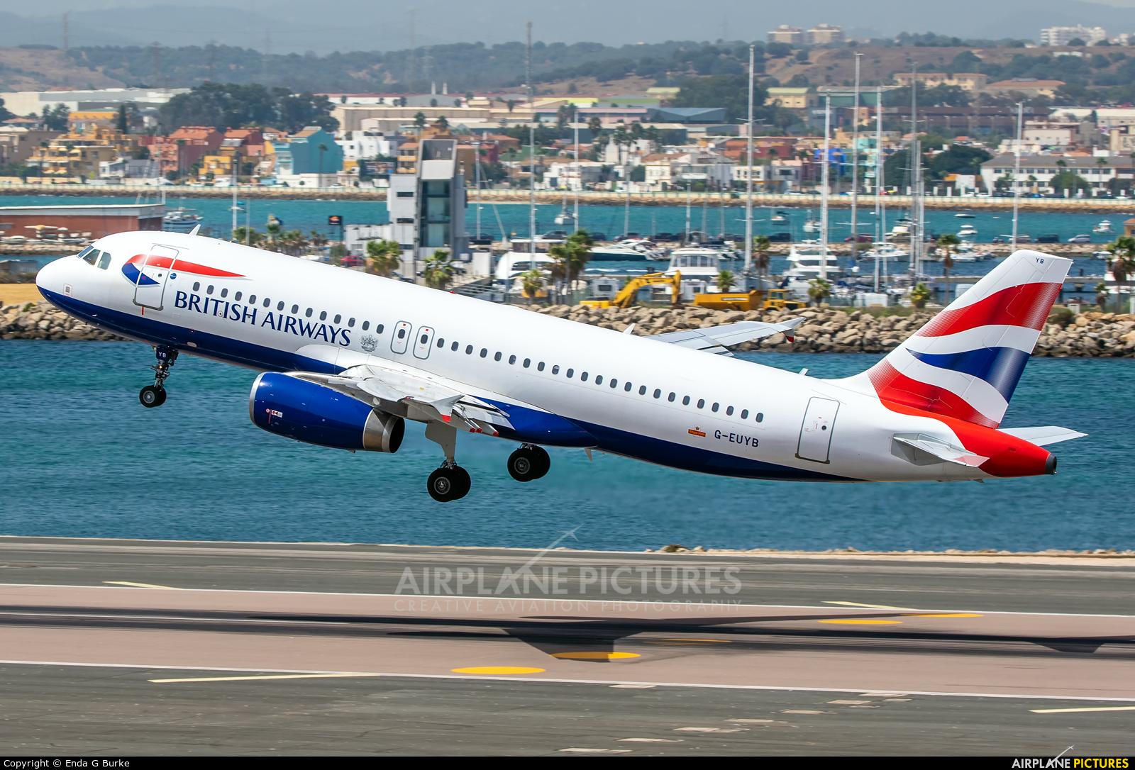British Airways G-EUYB aircraft at Gibraltar