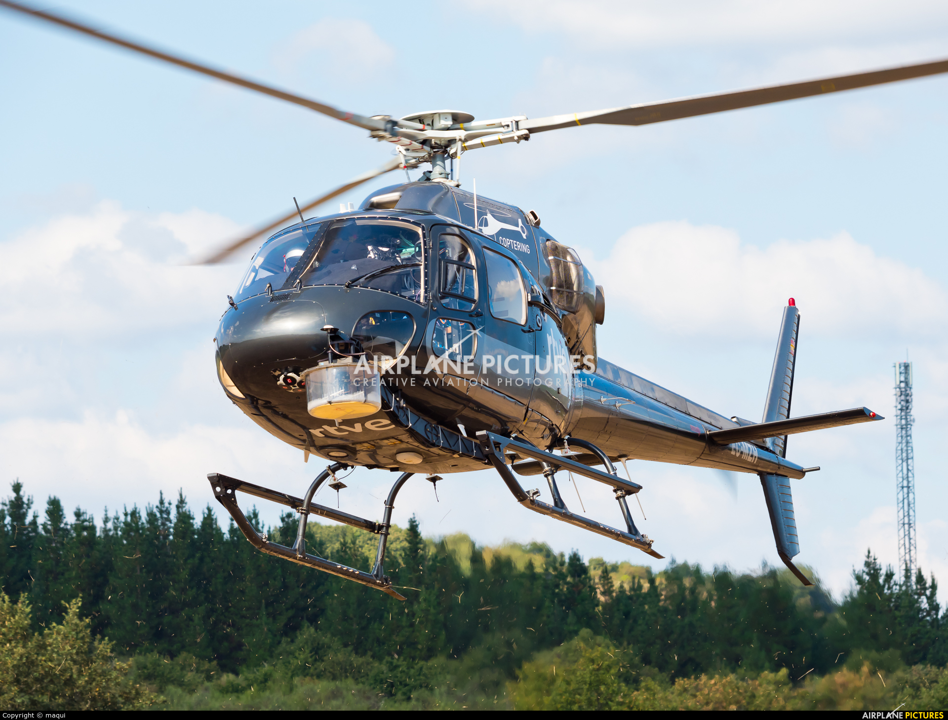"""Coptering EC-MZH aircraft at Campo de vuelo """"As Lamas"""""""