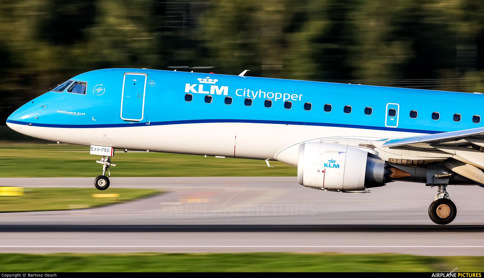 KLM Cityhopper PH-EXV aircraft at Gdańsk - Lech Wałęsa