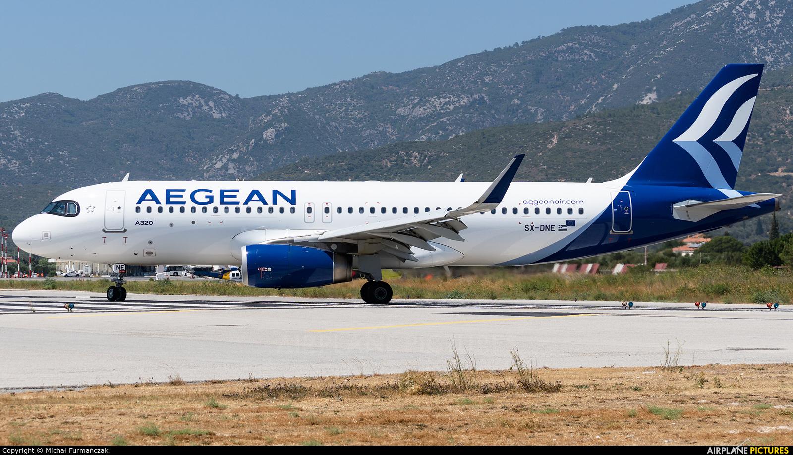 Aegean Airlines SX-DNE aircraft at Samos