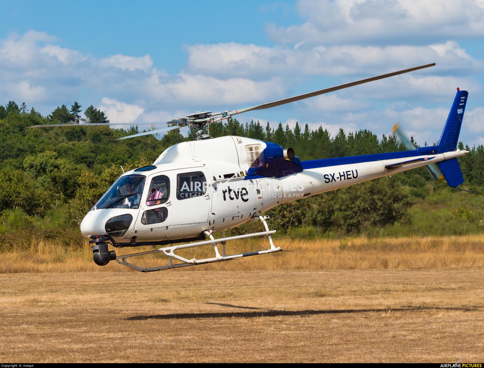 """Sky Helicopteros SX-HEU aircraft at Campo de vuelo """"As Lamas"""""""